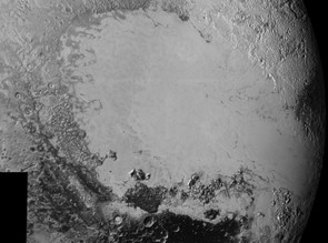 This 470km wide image shows broken terrain on the northwestern edge of Sputnik Planum, to the right.