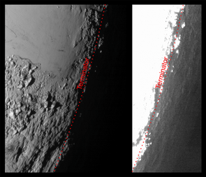 Here we can see Pluto's atmospheric haze producing a twilight illuminating the surface before sunrise and after sunset. The right image has been brightened to highlight the details beyond Pluto's terminator.