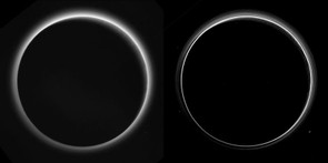 This image shows two different version of Pluto's haze layers, taken almost 16 hours after close approach from a distance of 770,000km. Pluto's north is at the top of the image, while the Sun's rays can be seen illuminating the dwarf planet from the upper right.