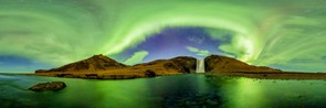 Skogafoss, Iceland – 360 Degree Panorama - Vincent Brady, On the night of October 27th 2014, the aurorae flowed through the sky like cold river at the bottom of the mighty Skogafoss. In a shallow spot, the photographer placed his 4 cameras with fisheye rigs to shoot a panorama time-lapse for several hours.