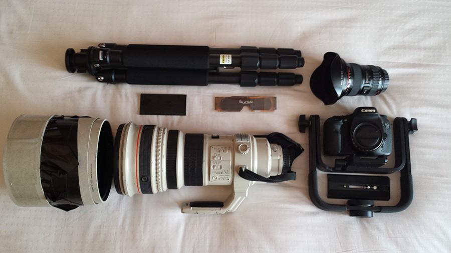 Daniel's eclipse-hunting kit (Credit: Daniel Lynch)