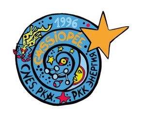 The Soyuz TM-24 logo was designed by artist Fédérica Matta.