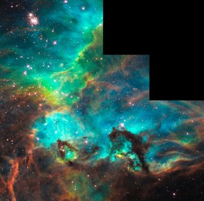 This image of star cluster NGC 2074 was taken during its 100,000th orbit. The image shows the distinctive shape of Wide Field Camera 2. Credit: NASA/ESA/M. Livio (STScI)