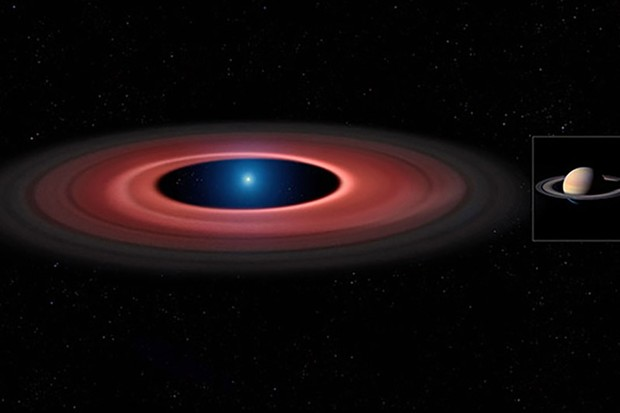 An artist's impression of the debris disc around the white dwarf SDSS J1228+1040 (left) at the same scale as Saturn and its rings (right). While the white dwarf in SDSS J1228+1040 has about seven times smaller diameter than Saturn, it has a mass 2500 times greater.