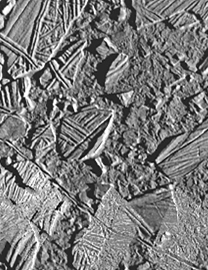 The icy, cracked surface of Europa Image: NASA/JPL