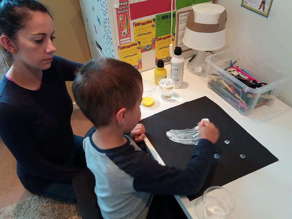 Exercises such as painting the lunar crescent can help children understand the lunar cycle. Credit: Steve Marsh