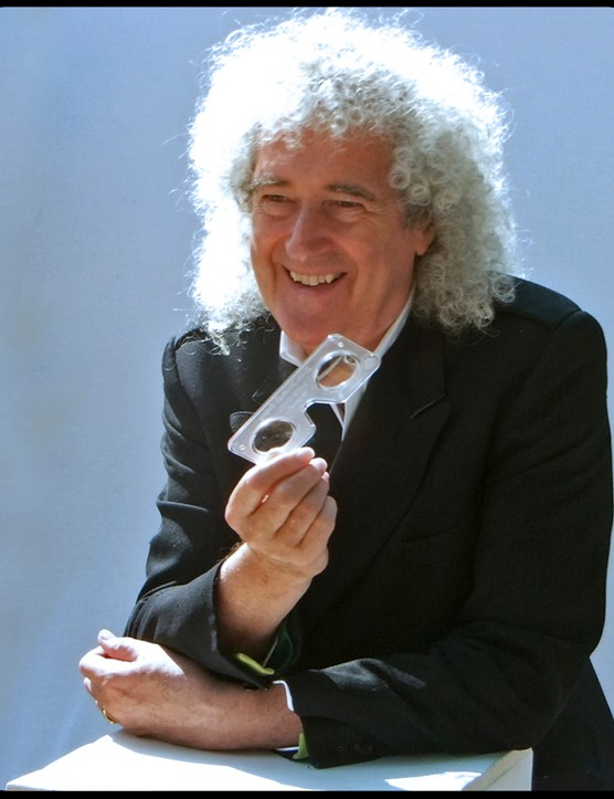Brian May pictured with the Lite Owl 3D device for use throughout the book.