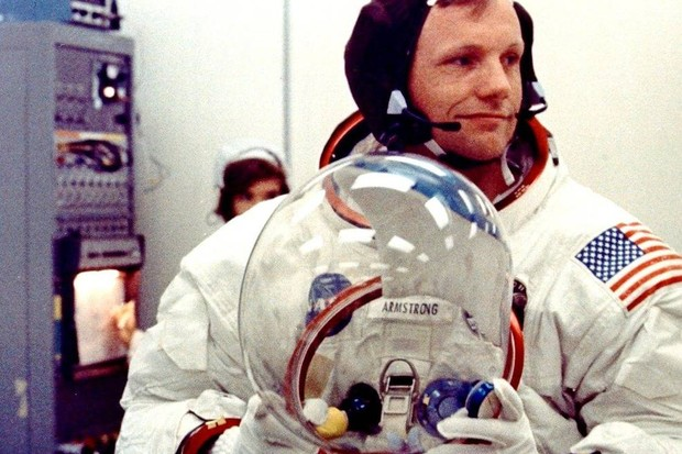 Neil Armstrong prepares for Apollo 11 liftoff, 16 July 1969. Credit: NASA
