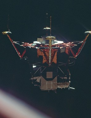 The Apollo 11 Lunar Module on its way to the surface of the Moon