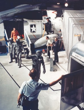 24 July 1969. Just over an hour after splashdown, the crew land on the USS Hornet and are directed from the helicopter straight into the mobile quarantine facility, a converted Airstream trailer. Credit: NASA