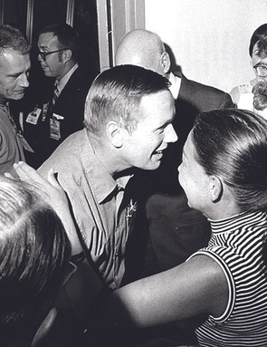 10 August 1969. Finally released from quarantine in the Lunar Receiving Laboratory, Houston, Armstrong is greeted by friends in the crew reception area. Credit: NASA