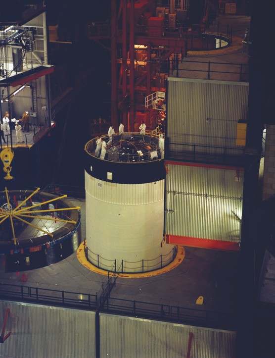 21 March 1969. Engineers prepare the third stage for fitting the Instrument Unit, seen to the left of the picture, which houses guidance, control and other computer systems. Credit: NASA