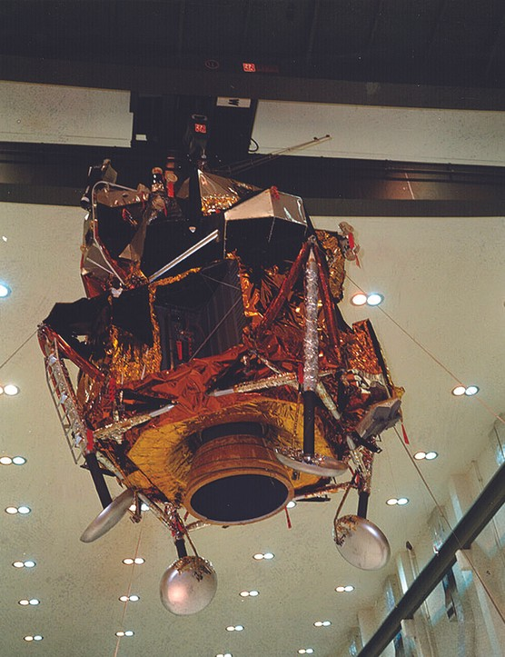 4 April 1969. The Apollo 11 lunar module, Eagle, is raised ready to be fitted into its protective fairing. Credit: NASA