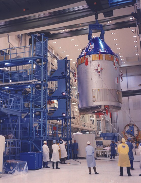 18 April 1969. Wrapped in protective blue coating, the Apollo 11 command service module is transferred to the Vehicle Assembly Building. Credit: NASA