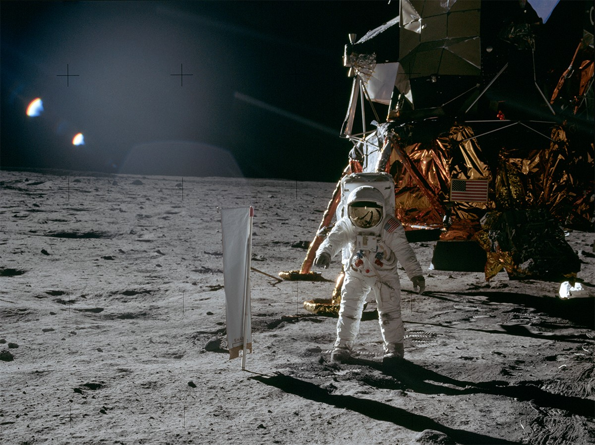 A lack of atmosphere on the Moon meant it was perfect for conducting solar experiments during the Apollo missions. Here, Buzz Aldrin sets uo the Solar Wind Composition Experiment during Apollo 11. Credit: NASA/Neil Armstrong