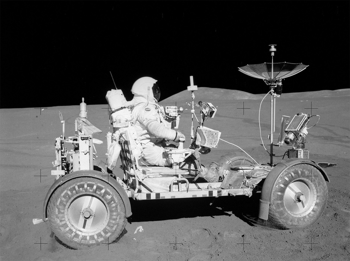 Apollo 15 was the first to use the lunar rover. Credit: NASA