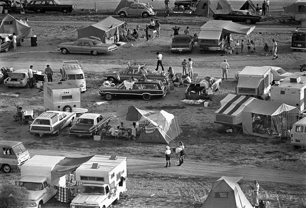 Spectators camp out near Kennedy Space Center to watch the launch of Apollo 11. Credit: NASA