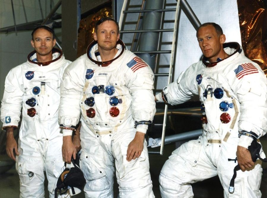 The Apollo 11 crew pictured in front of a Lunar Module mockup. Left to right are Michael Collins, Neil Armstrong and Edwin 'Buzz' Aldrin. Credit: NASA