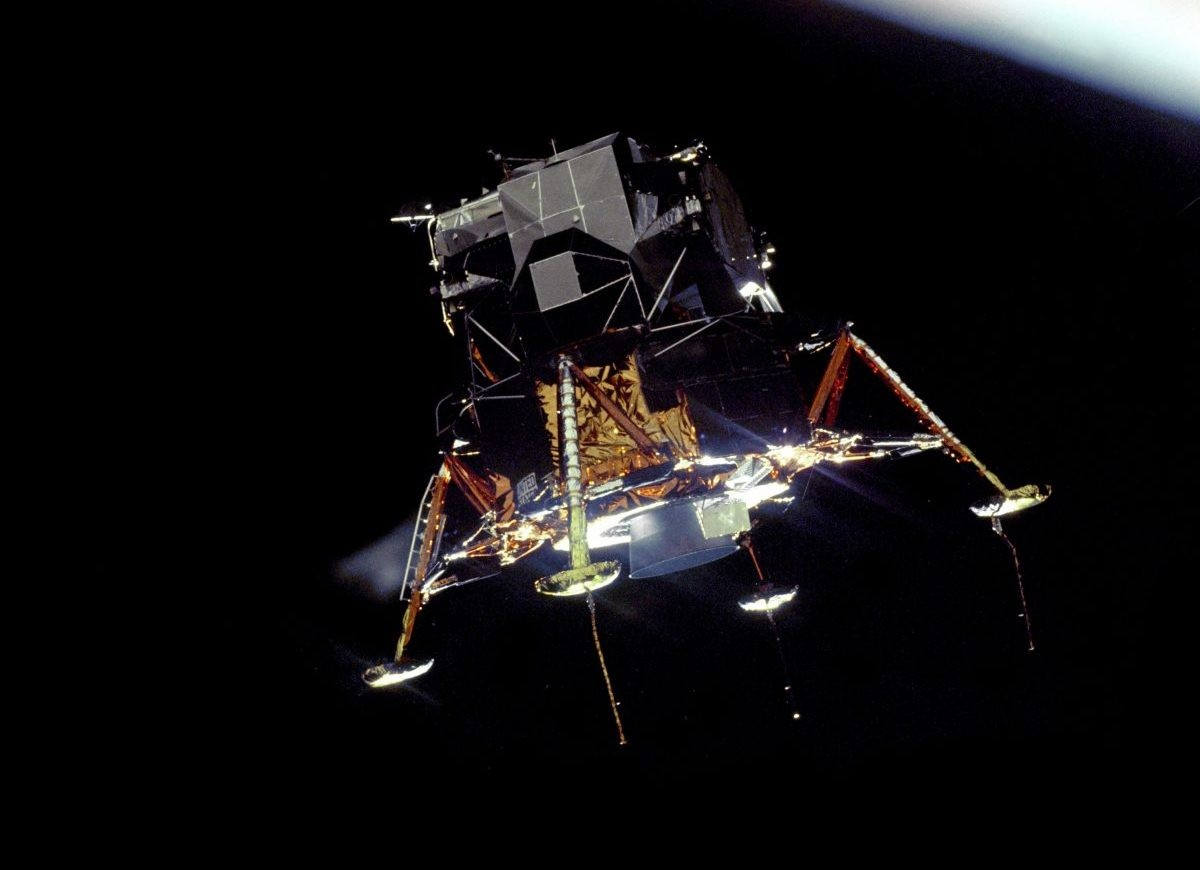 The Apollo 11 Lunar Module gets ready to land. This image was captured from the Command and Service Module. Credit: NASA