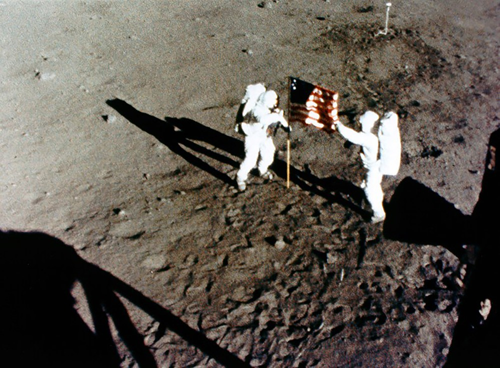 Neil Armstrong and Buzz Aldrin win the Space Race for the US by reaching the lunar surface. Credit: NASA