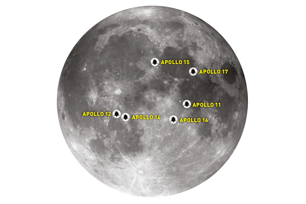 A map of the Apollo Moon landing sites. Credit: Pete Lawrence