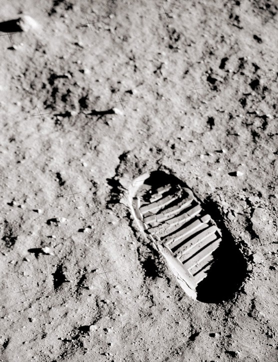Buzz Aldrin's famous footprint on the Moon