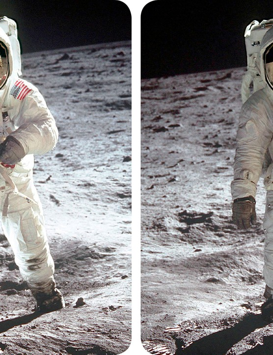 A stereo image of Buzz Aldrin on the Moon, taken from the Mission Moon 3D book