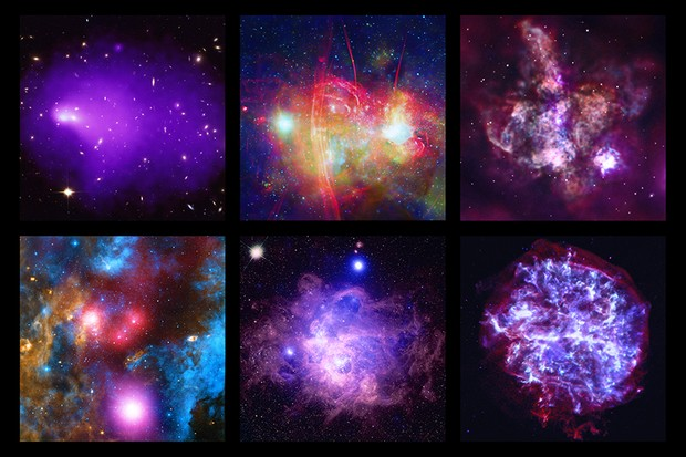 A selection of images released to celebrate the 20th anniversary of the Chandra X-ray Observatory. X-ray: NASA/CXC/UMass/D. Wang et al.; Radio: SARAO/MeerKAT