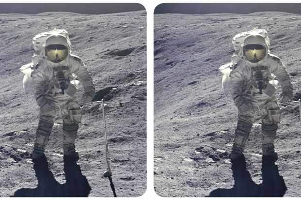 A stereo image of Apollo 16 Lunar Module pilot Charlie Duke on the Moon, as seen in the book Mission Moon 3D