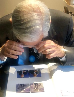 Apollo 16 astronauts Charlie Duke sees himself in 3D on the Moon