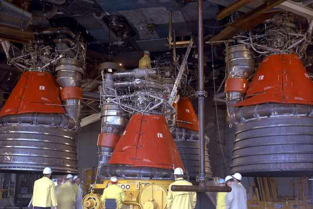 Installation of the F-1 engines. Credit: NASA Marshall Space Flight Center