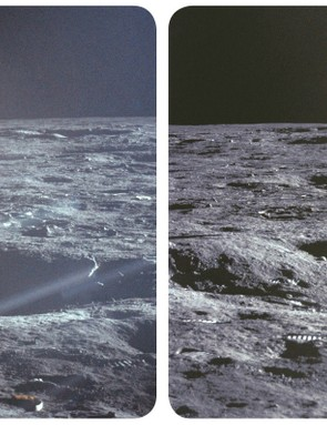A stereo image of the first US flag on Moon, as seen in the Mission Moon 3D book