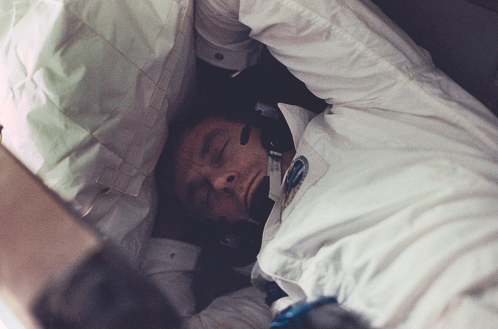 Astronaut Gene Cernan catches up on some well-earned shut-eye. Credit: NASA