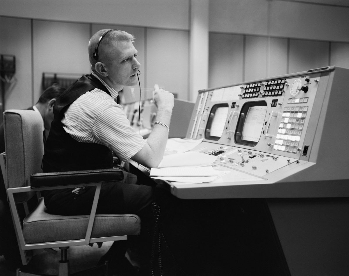 Apollo flight director Gene Kranz pictured in Mission Control Center, 1965. Credit: NASA