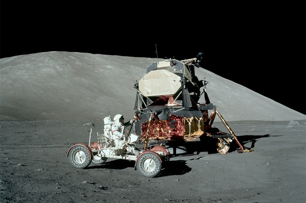 Gene Cernan test drives the lunar rover at the landing site of Apollo 17. Credit: NASA
