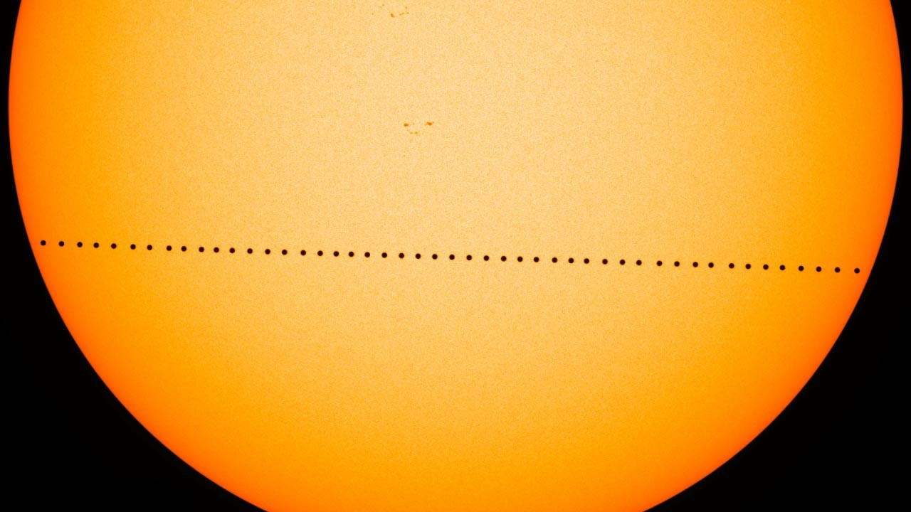 Composite image of Mercury transiting across the sun on 9 May, 2016, as seen by HMI on NASA's Solar Dynamics Obersvatory. Credit: NASA/SDO