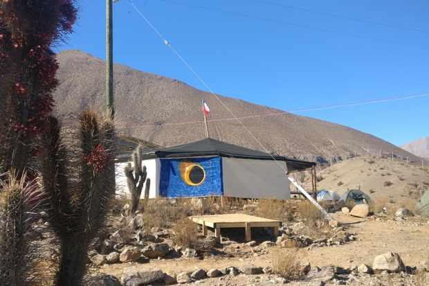 A campsite in La Serena, Chile, dons its eclipse colours in anticipation of the big day. Credit: Daniel Lynch