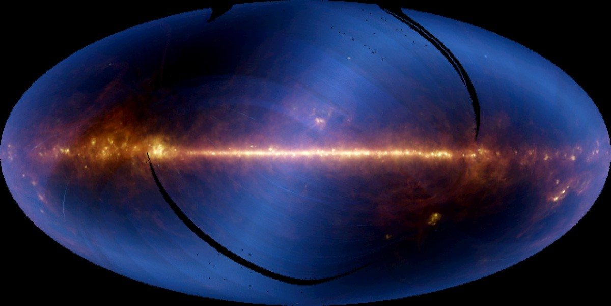 This all-sky map in the infrared was composed using six months of data from the Infrared Astronomical Satellite. The bright horizontal line is the plane of the Milky Way, and the centre of the Milky Way is in the centre of the image. Copyright: NASA/JPL-Caltech