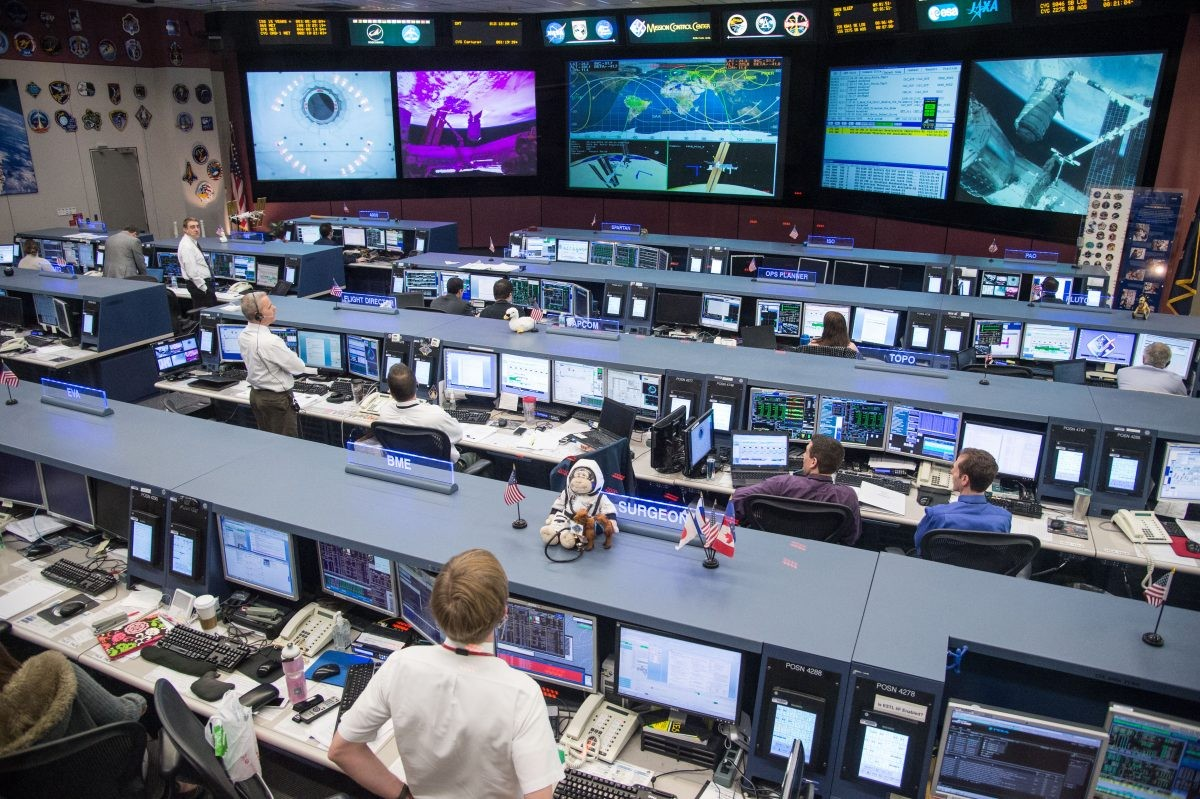 Mission control at Johnson Space Centre, as it appears today. This image was captured on 12 January 2014 as flight controllers supported the delivery of equipment to the International Space Station. Credit: NASA