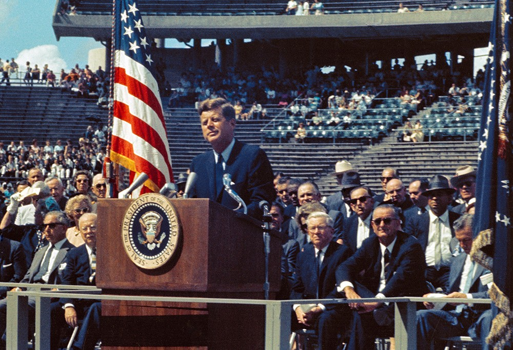 """""""We choose to go to the Moon in this decade and do the other things, not because they are easy, but because they are hard"""". President John Kennedy announces his plan of sending astronauts to the Moon. Credit: NASA"""