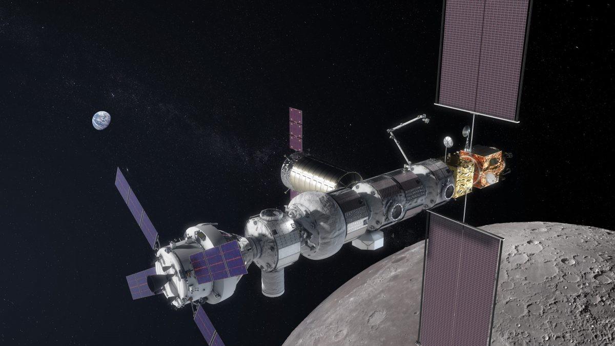 An artist's impression of the Lunar Orbital Platform – Gateway orbiting the Moon. Credit: NASA
