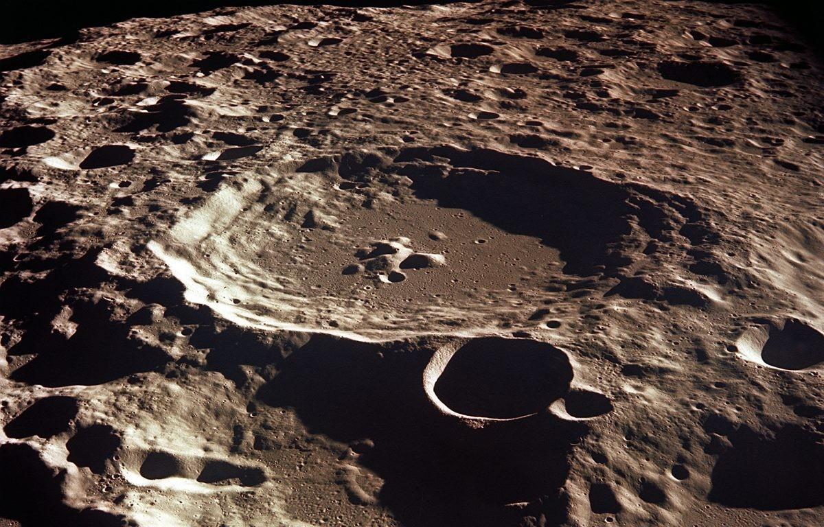 A view of Crater Daedalus on the lunar farside, captured from the Apollo 11 spacecraft in lunar orbit. The rugged surface of the Moon meant that landing was no easy task. Credit: NASA