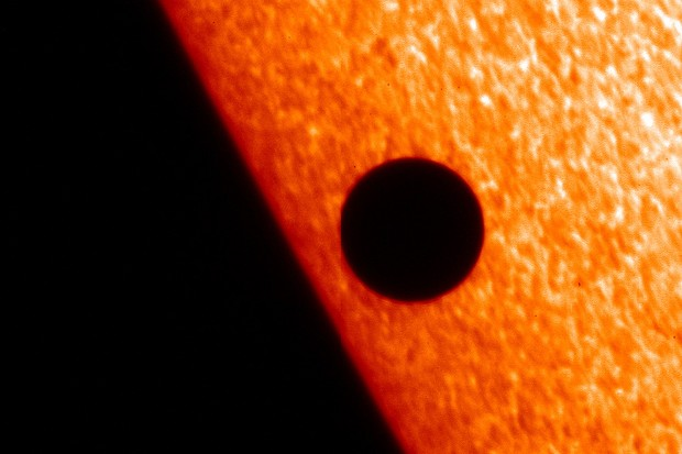 Mercury passing in front of the Sun captured in 2006 by the Solar Optical Telescope. Credit: Hinode JAXA/NASA/PPARC