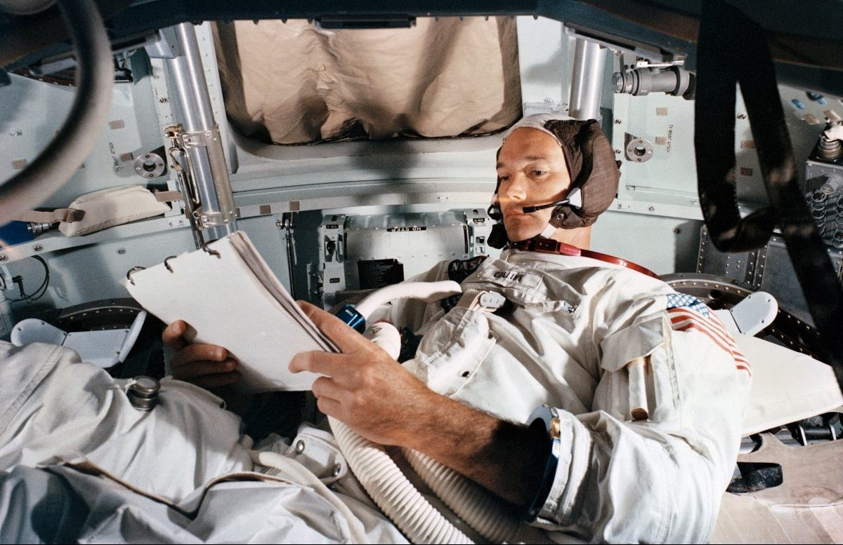 Command Module pilot Michael Collins pictured during an Apollo 11 rehearsal in the Command Module simulator, 19 June 1969, Kennedy Space Center. Credit: NASA