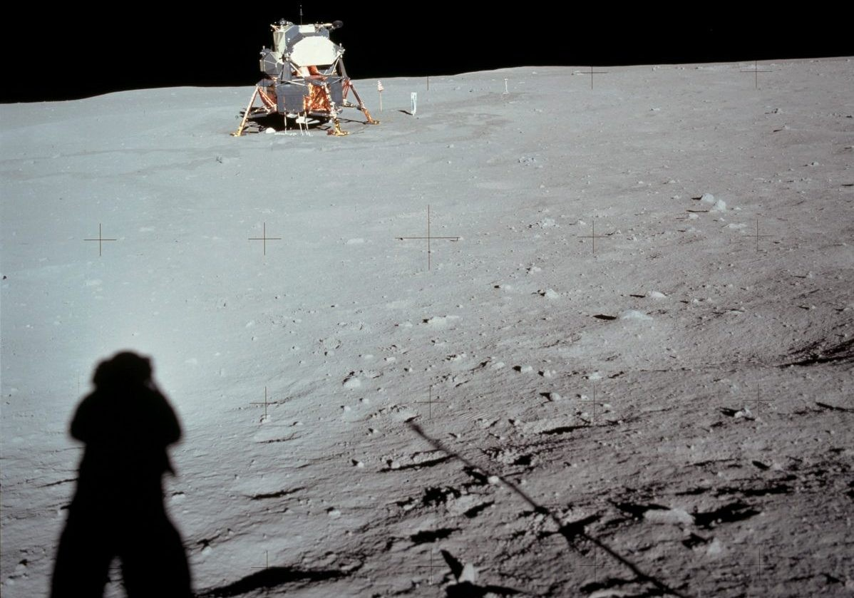 A photo of the Lunar Module caputred by Neil Armstrong during Apollo 11. Shadows in images of the Moon landings are often studied by conspiracy theorists searching for photographic anomalies. Credit: NASA