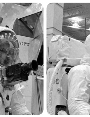 Neil Armstrong, fitted with a camera on his suit, in training for the Apollo 11 mission. This stereo image is taken from the Mission Moon 3D book