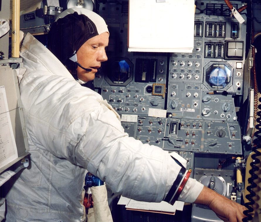 Neil Armstrong training with the Apollo Guidance Computer, which allowed him to land safely on the Moon. Credit: NASA