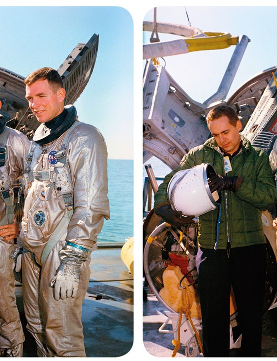 Gemini 8 Astronauts David Scott and Neil Armstrong during training. This stereo image is taken from the Mission Moon 3D book