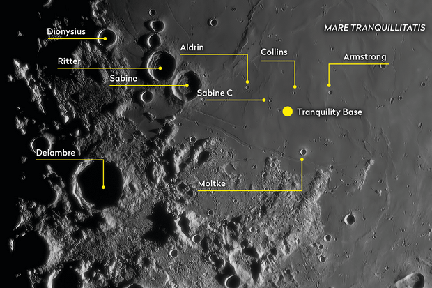 A view of the Apollo 11 landing sites in Mare Tranquillitatis. Credit: Pete Lawrence