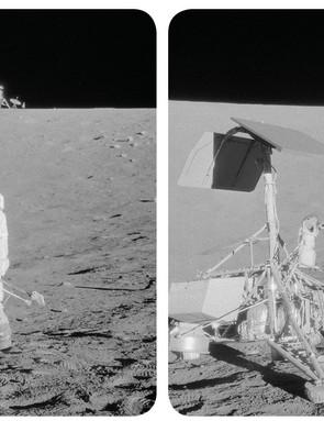 Apollo 12 astronaut Pete Conrad studies the Surveyor 3 spacecraft on the surface of the Moon